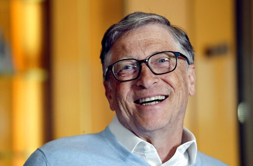(AP Photo/Elaine Thompson). In this Feb. 1, 2019, Bill Gates smiles while being interviewed in Kirkland, Wash. Bill and Melinda Gates are pushing back against a new wave of criticism about whether billionaire philanthropy is a force for good. The coupl...