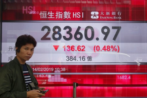 (AP Photo/Kin Cheung). A man walks past an electronic board showing Hong Kong share index outside a bank in Hong Kong, Thursday, Feb. 14, 2019. Asian stocks were mostly lower on Thursday as China and the U.S. kicked off two days of trade negotiations i...