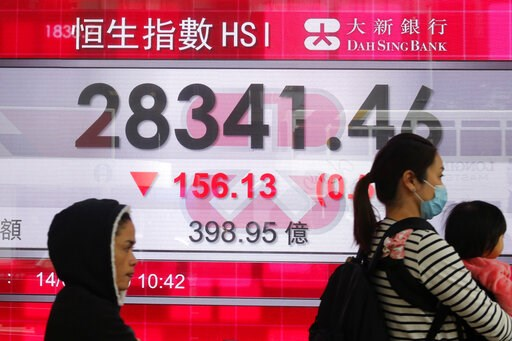 (AP Photo/Kin Cheung). People walk past an electronic board showing Hong Kong share index outside a bank in Hong Kong, Thursday, Feb. 14, 2019. Asian stocks were mostly lower on Thursday as China and the U.S. kicked off two days of trade negotiations i...
