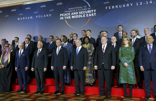 (AP Photo/Michael Sohn). Front row third from left, United States Vice President Mike Pence, fourth from left, Poland's President Andrzej Duda, fifth from left, Israeli Prime Minister Benjamin Netanyahu and sixth from left, United States Secretary of S...