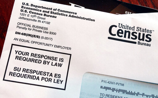 (AP Photo/Michelle R. Smith, File). FILE - This March 23, 2018, file photo shows an envelope containing a 2018 census letter mailed to a U.S. resident as part of the nation's only test run of the 2020 Census.  The Supreme Court will decide whether the ...