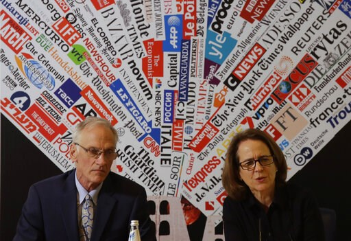 (AP Photo/Alessandra Tarantino). BishopAccountability.org group director Phil Saviano, left, and co-director Anne Barrett Doyle, attend a press conference at the foreign press association in Rome, Tuesday Feb. 19, 2019.