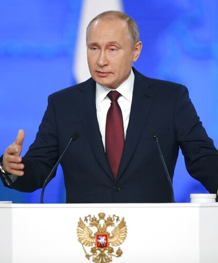 (AP Photo/Alexander Zemlianichenko). Russian President Vladimir Putin delivers a state-of-the-nation address in Moscow, Russia, Wednesday, Feb. 20, 2019. Putin said Russia needs to focus on raising living standards.