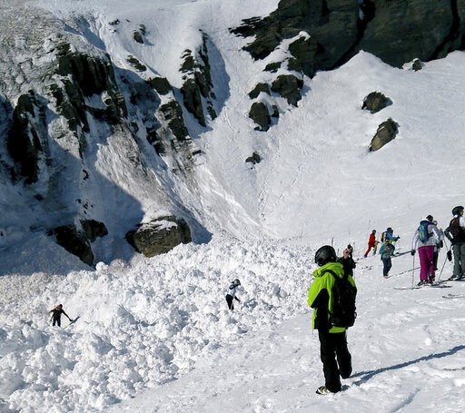 (Denis Mentha/Keystone via AP). Rescue crews work work at the site of an avalanche site in the ski resort of Crans-Montana, Switzerland, Tuesday, Feb. 19, 2019. Swiss mountain rescue teams pulled out several people who were buried in a mid-afternoon av...