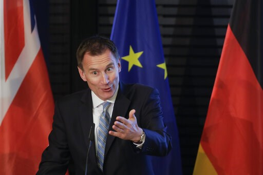 (AP Photo/Markus Schreiber). British Foreign Secretary Jeremy Hunt delivers a speech about Britain and Europe at the Konrad-Adenauer-Foundation in Berlin, Germany, Wednesday, Feb. 20, 2019.