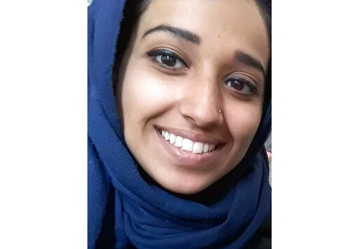 (Hoda Muthana/Attorney Hassan Shibly via AP). This undated image provided by attorney Hassan Shibly shows Hoda Muthana, an Alabama woman who left home to join the Islamic State after becoming radicalized online. Muthana realized she was wrong and now w...
