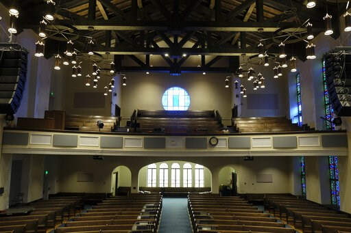 (AP Photo/Eric Risberg). This Tuesday, Feb. 12, 2019 photo shows the sanctuary at the Glide Memorial United Methodist Church in San Francisco. The United Methodist Church convenes its top legislative assembly Saturday, Feb. 23, 2019, for a high-stakes ...
