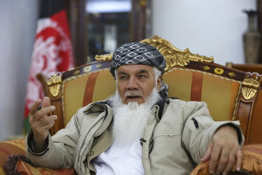 (AP Photo/Rahmat Gul). Former Afghan Cabinet Minister Ismail Khan, speaks during an interview with the Associated Press in Herat province, western of, Afghanistan, Wednesday, Feb. 20, 2019. A powerful political leader, who was previously tapped by some...