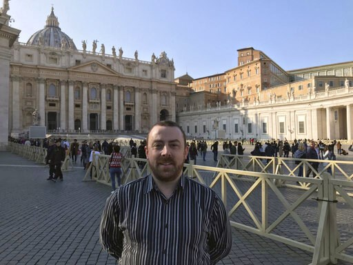 (AP Photo/Nicole Winfield). Vincent Doyle, of advocacy group Coping International, poses for a photo during an interview with The Associated Press, in St. Peter's Square at the Vatican, Wednesday, Feb. 20, 2019. The lead organizer of the Vatican's sex ...