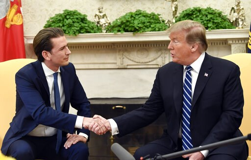 (AP Photo/Susan Walsh). President Donald Trump shakes hands as he meets with Austrian Chancellor Sebastian Kurz in the Oval Office of the White House in Washington, Wednesday, Feb. 20, 2019.