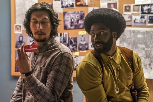 """(David Lee/Focus Features via AP). This image released by Focus Features shows Adam Driver, left, and John David Washington in a scene from """"BlacKkKlansman."""" The film is nominated for an Oscar for best picture. The 91st Academy Awards will be held on S..."""