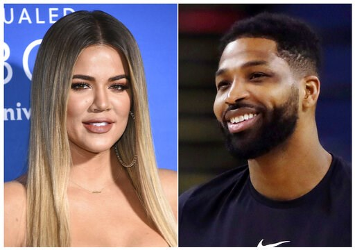(AP Photo). This combination photo shows TV personality Khloe Kardashian at the NBCUniversal Network 2017 Upfront in New York on May 15, 2017, left, and Cleveland Cavaliers' Tristan Thompson during an NBA basketball practice in Oakland, Calif., on May ...