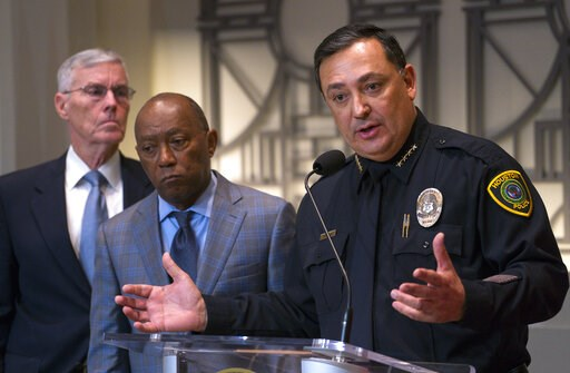 (Mark Mulligan/Houston Chronicle via AP). Houston Police Department Chief Art Acevedo joins Houston Mayor Sylvester Turner during a press conference updating the public on ongoing investigations related to the no-knock raid by narcotics officers that k...