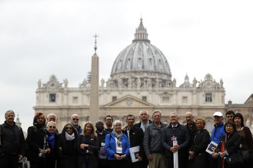(AP Photo/Gregorio Borgia). Members of the ECA (Ending of Clergy Abuse) organization and survivors of clergy sex abuse pose for photographers outside St. Peter's Square, at he Vatican, Monday, Feb. 18, 2019. Organizers of Pope Francis' summit on preven...