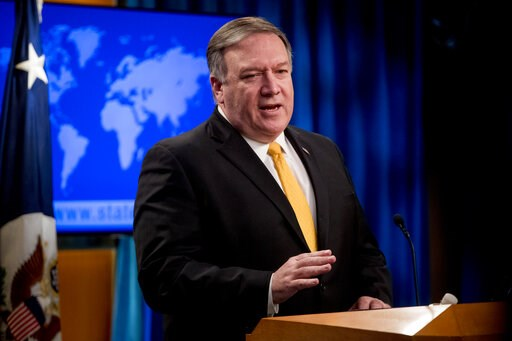 (AP Photo/Andrew Harnik). In this Feb. 1, 2019 photo, Secretary of State Mike Pompeo speaks at a news conference at the State Department in Washington.