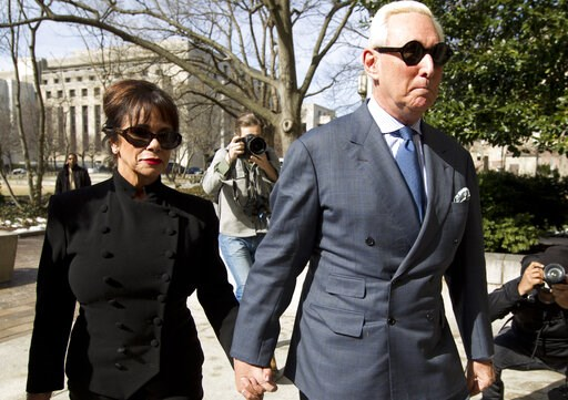 (AP Photo/Jose Luis Magana). Former campaign adviser for President Donald Trump, Roger Stone accompanied by his wife Nydia Stone, left, arrives at federal court in Washington, Thursday, Feb. 21, 2019. Stone was ordered to appear in court over a Instagr...