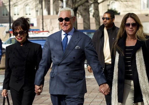 (AP Photo/Jose Luis Magana). Former campaign adviser for President Donald Trump, Roger Stone accompanied by his wife Nydia Stone, left, and daughter Adria Stone, arrives at federal court in Washington, Thursday, Feb. 21, 2019. Stone was ordered to appe...