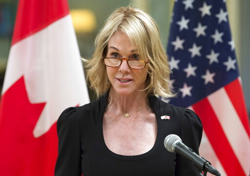 (Adrian Wyld/The Canadian Press via AP). FILE - In this Oct. 23, 2017, file photo, United States Ambassador to Canada Kelly Knight Craft speaks after presenting her credentials during a ceremony at Rideau Hall in Ottawa.