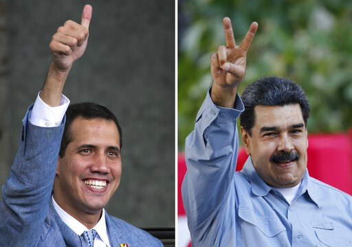 (AP Photos/Ariana Cubillos). This photo combo of file photos shows opposition leader and self-proclaimed interim president of Venezuela Juan Guaido, left, on Feb. 8, 2019 and Venezuela's President Nicolas Maduro, on Feb. 7, 2019, both in Caracas, Venez...