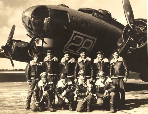 (The Kriegshauser family via AP). In this image provided by the Kriegshauser family and taken on Oct. 22, 1943 shows the crew posing for a photo in front of a training plane in Geiger Field in Spokane, Washington. They are back row from left: Stf Sgt. ...