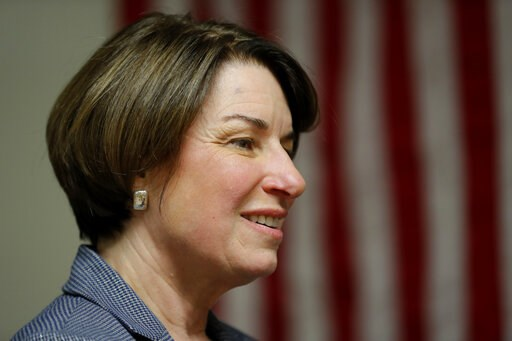 (AP Photo/Charlie Neibergall). 2020 Democratic presidential candidate Sen. Amy Klobuchar speaks at the Ankeny Area Democrats' Winter Banquet, Thursday, Feb. 21, 2019, in Des Moines, Iowa.