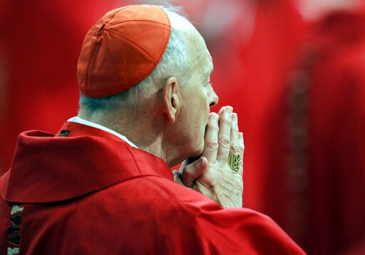 (AP Photo/Pier Paolo Cito, files). FILE - In this Monday, April 18, 2005 file photo, U.S. Cardinal Theodore Edgar McCarrick attends a Mass in St. Peter's Basilica at the Vatican. On Saturday, Feb. 16, 2019 the Vatican announced Pope Francis defrocked f...