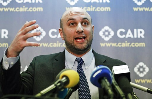 (AP Photo/Alex Brandon, File). FILE - In this Jan. 30, 2017, file photo, attorney Gadeir Abbas speaks during a news conference at the Council on American-Islamic Relations (CAIR) in Washington. The federal government has acknowledged that it shares its...