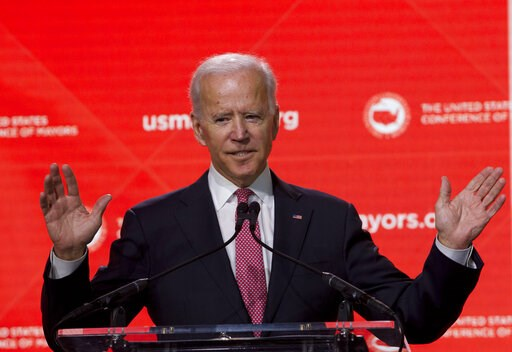 (AP Photo/Jose Luis Magana, File). FILE - In this Jan. 24, 2019, file photo, Former Vice President Joe Biden speaks during the U.S. Conference of Mayors Annual Winter Meeting in Washington. Democratic presidential candidates are touting their support f...