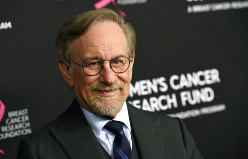"""(Photo by Chris Pizzello/Invision/AP, File). FILE - In this Thursday, Feb. 28, 2019, file photo, filmmaker Steven Spielberg poses at the 2019 """"An Unforgettable Evening"""" benefiting the Women's Cancer Research Fund, at the Beverly Wilshire Hotel, in Beve..."""