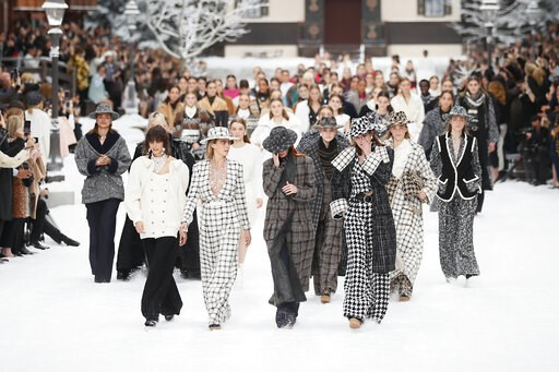 (AP Photo/Francois Mori). Model Cara Delevingne, second from left, looks as models wipe tears from their eyes as they wear creations as part of the Chanel ready to wear Fall-Winter 2019-2020 collection, that was presented in Paris, Tuesday, March 5, 20...