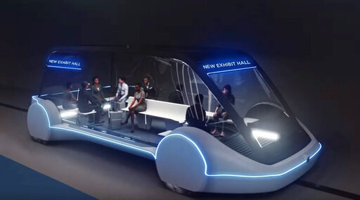 (The Boring Company via AP). This undated conceptual drawing provided by The Boring Company shows a high-occupancy Autonomous Electric Vehicle (AEV) that would run in a tunnel between exhibition halls at the Las Vegas Convention Center proposed for Las...