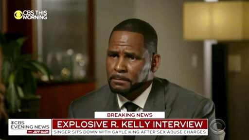 """(CBS via AP). This image provided by CBS shows R. Kelly being interviewed by Gayle King on """"CBS This Morning"""" Wednesday, March 6, 2019 in Chicago. The R&B singer gave his first interview since being charged last month with sexually abusing four fem..."""