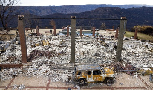 (AP Photo/Noah Berger, File). FILE - In this Dec. 3, 2018 file photo, a vehicle rests in front of a home leveled by the Camp Fire in Paradise, Calif. Pacific Gas & Electric says its equipment may have ignited the 2018 Camp Fire, which killed 86 peo...