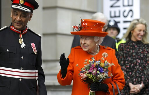 (Simon Dawson/Pool via AP). Britain's Queen Elizabeth II reacts during a visit to the Science Museum in London, Thursday March 7, 2019. The Science Museum will announce Thursday, its upcoming exhibitions for summer 2019.