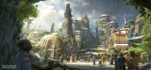 (Disney Parks/Lucasfilm via AP). This rendering released by Disney and Lucasfilm shows the planned Black Spire Outpost, a village on the planet of Batuu that will be part of a 14-acre expansion project called Star Wars: Galaxy's Edge, set to open this ...