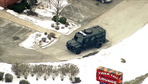 (ABC 7 Chicago via AP). This image provided by ABC 7 Chicago shows police activity at a hotel in Rockford, Ill., Thursday, March 7, 2019. Authorities say an officer has been shot at the hotel in northern Illinois.   Local media was reporting that Rockf...