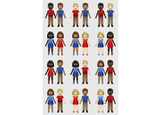 (Tinder/Emojination via AP). This undated illustration provided by Tinder/Emojination shows new variations of interracial emoji couples. In the world of emojis, interracial couples had virtually no options in terms of skin tone. But the emoji gods, oth...