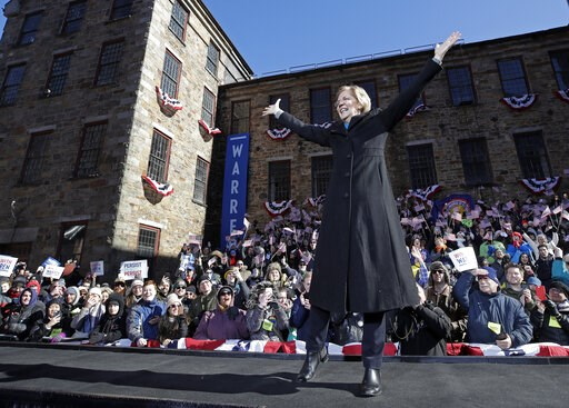 (AP Photo/Elise Amendola, File). FILE - In this Feb. 9, 2019, file photo Sen. Elizabeth Warren, D-Mass., acknowledges cheers as she takes the stage during an event to formally launch her presidential campaign in Lawrence, Mass. Presidential candidates ...