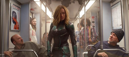 "(Disney-Marvel Studios via AP). This image released by Disney-Marvel Studios shows Brie Larson in a scene from ""Captain Marvel."""