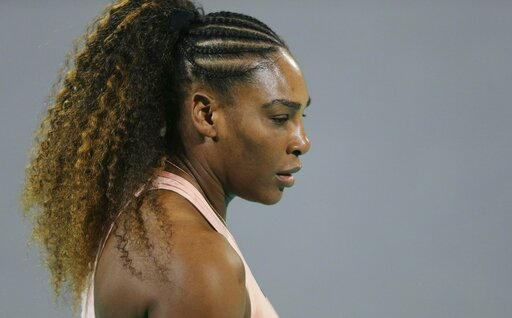 (AP Photo/Kamran Jebreili, File). FILE - In this Dec. 27, 2018 file photo, Serena Williams from the U.S. reacts during a match against her sister Venus, on the opening day of the Mubadala World Tennis Championship in Abu Dhabi, United Arab Emirates. Wi...