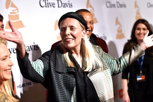 """(Photo by John Shearer/Invision/AP, File). FILE - In this Feb. 7, 2015 file photo, Joni Mitchell arrives at the 2015 Clive Davis Pre-Grammy Gala in Beverly Hills, Calif. Mitchell's """"Morning Glory On the Vine: Early Songs and Drawings,"""" will be publishe..."""