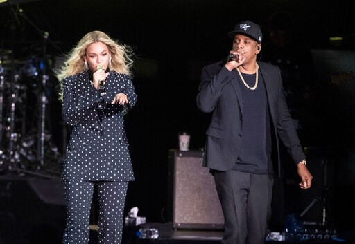 (AP Photo/Matt Rourke, File). FILE - In this Nov. 4, 2016 file photo, Beyonce and Jay-Z perform during a Democratic presidential candidate Hillary Clinton campaign rally in Cleveland. The power couple will be honored for accelerating LGBTQ acceptance a...