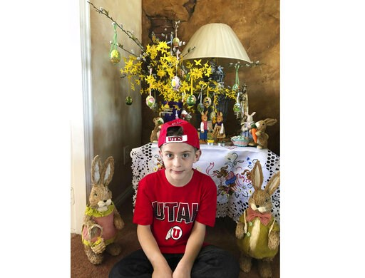 (Karen Fisher via AP). This April 1, 2018 photo provided by Karen Fisher shows fourth-grader William McLeod at his home in Bountiful, Utah. A teacher in the predominantly Mormon state was placed on administrative leave Thursday, March 7, 2019 after she...