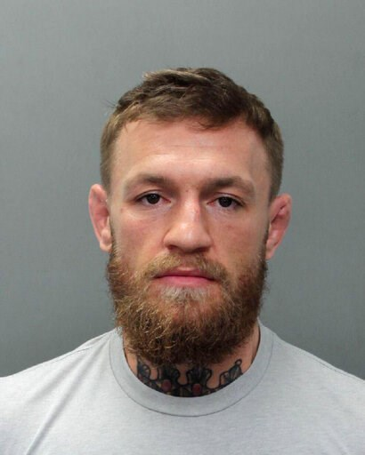 (Miami Beach Police Department via AP). This photo provided by the Miami-Dade Corrections and Rehabilitation Department shows Conor McGregor. Authorities say mixed martial artist and boxer Conor McGregor has been arrested in South Florida for stealing ...