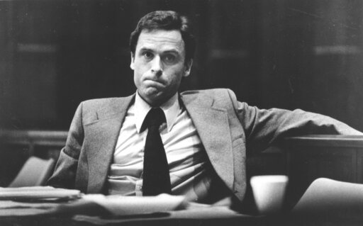 (AP Photo/File). FILE - In this June 27, 1979 file photo, accused murderer Ted Bundy stares out at the photographer during the second day of jury selection in his murder trial in Miami, Fla. Authorities say DNA testing helped them confirm the notorious...