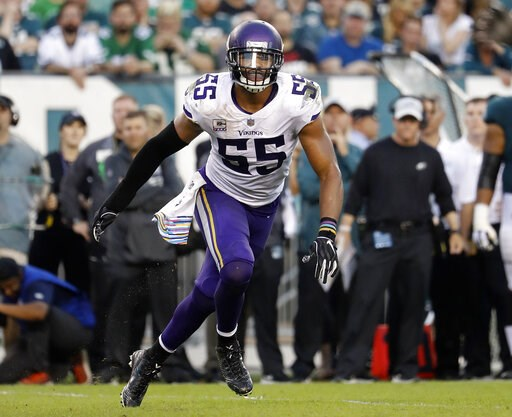 (Winslow Townson/AP Images for Panini, File). FILE - In this Oct. 7, 2018, file photo, Minnesota Vikings linebacker Anthony Barr chases the action during an NFL football game against the Philadelphia Eagles in Philadelphia. The Vikings are keeping the ...