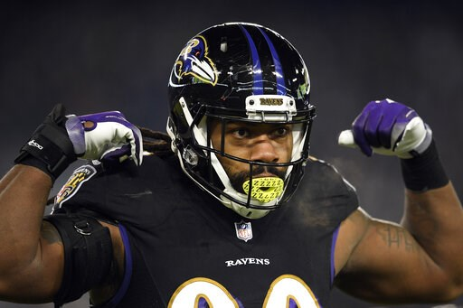 (AP Photo/Nick Wass, File). FILE - In this Dec. 30, 2018, file photo, Baltimore Ravens outside linebacker Za'Darius Smith gestures in the first half of an NFL football game against the Cleveland Browns in Baltimore. The Green Bay Packers agreed to $183...