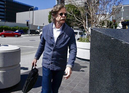 (AP Photo/Alex Gallardo). Actor William H. Macy arrives at the federal courthouse in Los Angeles, on Tuesday, March 12, 2019. Macy's wife, actress Felicity Huffman is among fifty people who were charged Tuesday in a scheme in which wealthy parents alle...