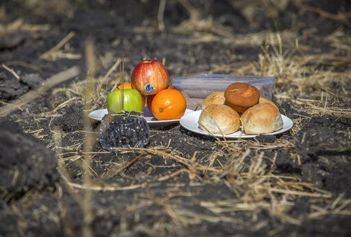 (AP Photo/Mulugeta Ayene). An offering of fruit, bread rolls, and a plastic container of Ethiopian Injera, a fermented sourdough flatbread, sit next to incense sticks, placed by officials from the Aviation Industry Corporation of China (AVIC) as they p...
