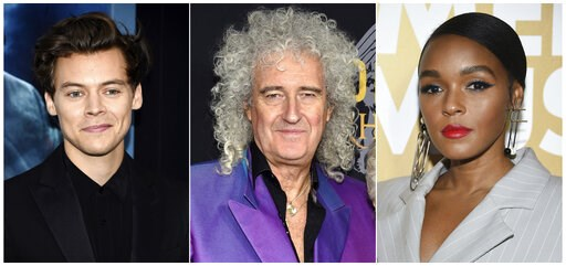 (AP Photo). This combination photo shows Harry Styles, from left, Brian May and Janelle Monae, who will presenting at the 2019 Rock & Roll Hall of Fame induction ceremony on March 29. Styles will induct Stevie Nicks, May will induct Def Leppard and...